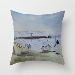 Sennen Cove Fishing Boats Throw Pillow