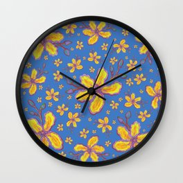 Yellow Flowers on Periwinkle Wall Clock