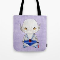 thundercats Tote Bags featuring A Boy - Panthro (Thundercats) by Christophe Chiozzi