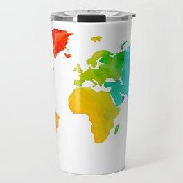 Original Watercolor - Map of The World - Travel Art - Chakra Rainbow Colors Travel Mug