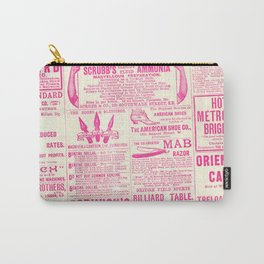 Old Tyme Newspaper Pink Carry-All Pouch