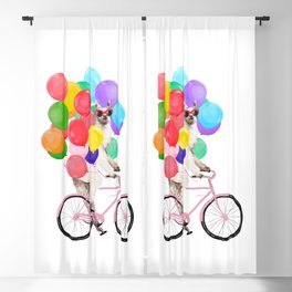 Fashion Llama Riding with Colourful Balloons Blackout Curtain