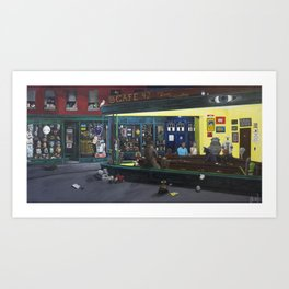 Pop Culture Geeky Fandom Nighthawks Art Print