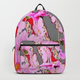 MODERN FUCHSIA  PINK FLOWERS  GREY & RED ABSTRACT ART Backpack