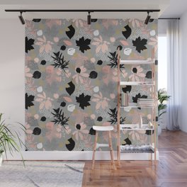 Abstract maple leaves autumn in pink and gray colors Wall Mural