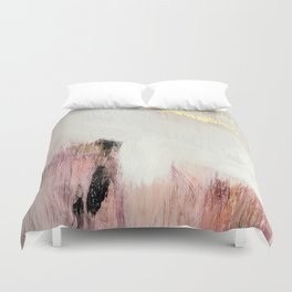 Sunrise [2]: a bright, colorful abstract piece in pink, gold, black,and white Duvet Cover