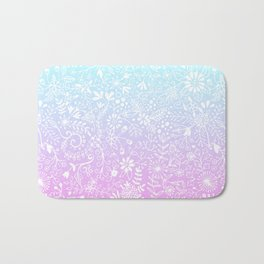 Floral Gradient - Pink and Turquoise Bath Mat