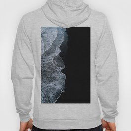 Waves on a black sand beach in iceland - minimalist Landscape Photography Hoody