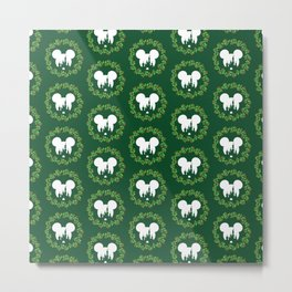 Fairytale Castle Christmas Wreath Mouse Ears Metal Print