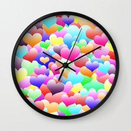 Bubble Hearts Dark Wall Clock