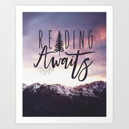Reading Awaits - Purple Mountains Art Print