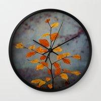 leaves Wall Clocks featuring Leaves by Dirk Wuestenhagen Imagery