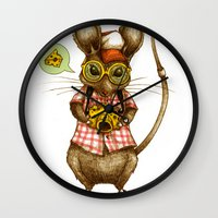 cheese Wall Clocks featuring Say Cheese by Steven Toang