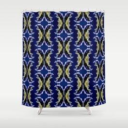 Yellow Darkblue Ornament  Baroque Damask Pattern Shower Curtain