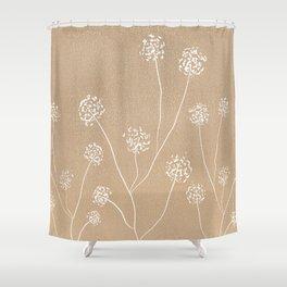 Dandelions flowers illustration on beige kraft Shower Curtain