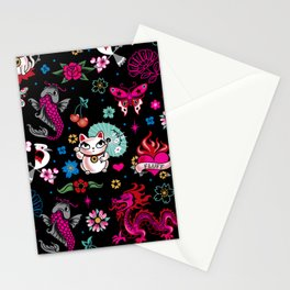 Lucky Cat Maneki Neko , Dragons and Koi fish Stationery Cards