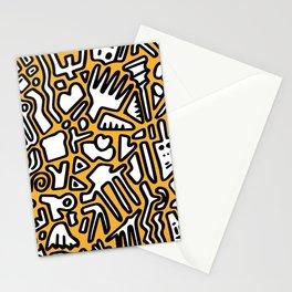 black doodle on orange Stationery Cards