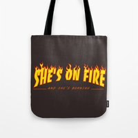 scarface Tote Bags featuring Scarface She's on Fire  by D-fens