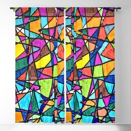 Colorful shapes background Blackout Curtain