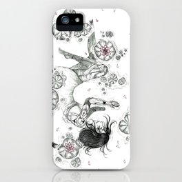 Robot girl on a pod of loto flowers  iPhone Case