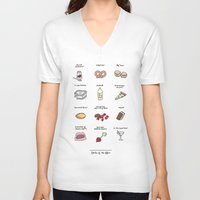 battlestar V-neck T-shirts featuring Foods of The Office by Tyler Feder