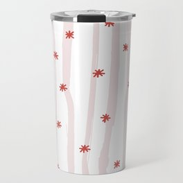 Pastel pink red abstract hand painted stripes stars Travel Mug