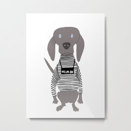 Weim Jailbird Grey Ghost Weimaraner Dog Hand-painted Pet Drawing Metal Print