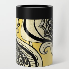 Black and Yellow Floral Can Cooler