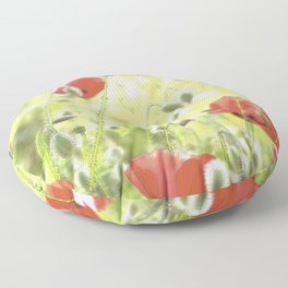 Poppies in the bright sunshine Floor Pillow