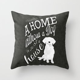 Home with Dog Throw Pillow