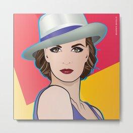 Beautiful Pop Art Woman Ingrid with Hat Metal Print