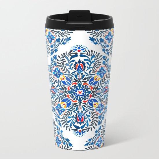 Blue-red mandala Metal Travel Mug