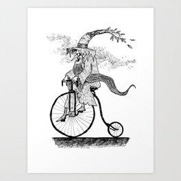 Forest Wizard on a Bike Art Print