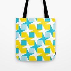 Orange & turquoise blue stars & squares geometric pattern Tote Bag