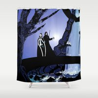 rogue Shower Curtains featuring Rogue & Remy  by Andrew Formosa