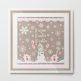 Warm Winter Wishes Snowman Art Metal Print
