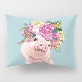 Flower Crown Baby Pig in Blue Pillow Sham