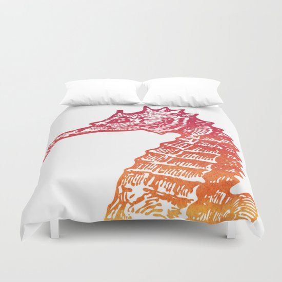 Red & Orange Seahorse Duvet Cover
