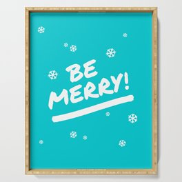 Bright Cyan Be Merry Christmas Snowflakes Serving Tray