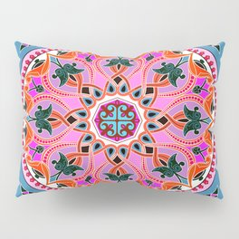 Boho Floral Crest Pink and Red Pillow Sham