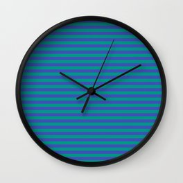 Even Horizontal Stripes, Teal and Indigo, S Wall Clock