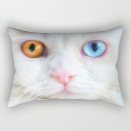 Odd-Eyed White Persian Kitten Rectangular Pillow
