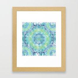 Blue Greenery Tie-Dye Mandala Framed Art Print