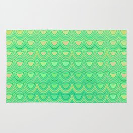 Mermaid Scales Yellow Green Rug