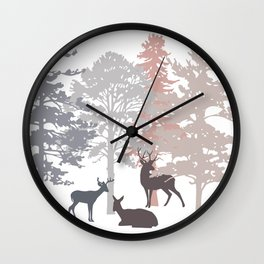 Morning Deer In The Woods No. 2 Wall Clock