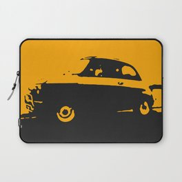 Fiat 500 classic, Yellow on Black Laptop Sleeve