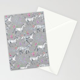 Unicorns and Stars on Soft Grey Stationery Cards