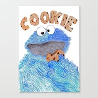 cookie monster Canvas Prints featuring cookie monster by Art_By_Sarah