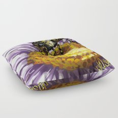 Wasp on flower 3 Floor Pillow