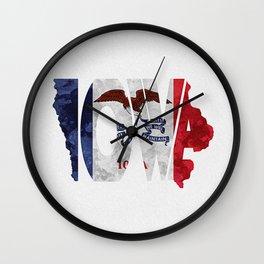 Iowa Typographic Flag Map Art Wall Clock